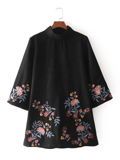 Flower Embroidery Suede Dress