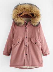 Faux Fur Lined Corduroy Coat