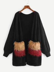 Faux Fur Pocket Patched Lantern Sleeve Cardigan