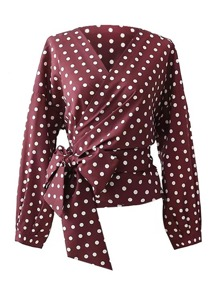 Polka Dot Self Tie Wrap Blouse