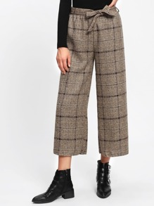Tartan Plaid Bow Tie Waist Wide Leg Pants