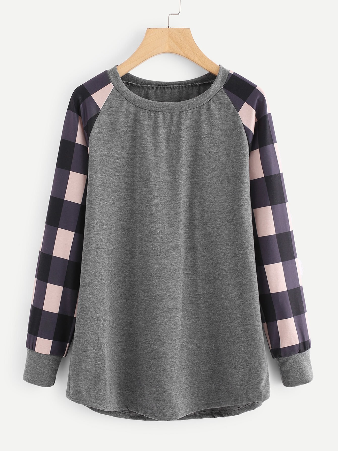 Contrast Check Plaid Raglan Sleeve Marled Pullover raglan sleeve binding marled crop top