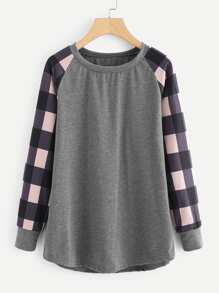 Contrast Check Plaid Raglan Sleeve Marled Pullover