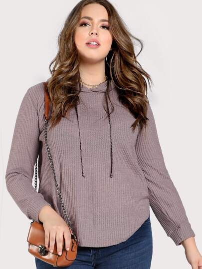 Waffle Knit Long Sleeve Sweater LAVENDER