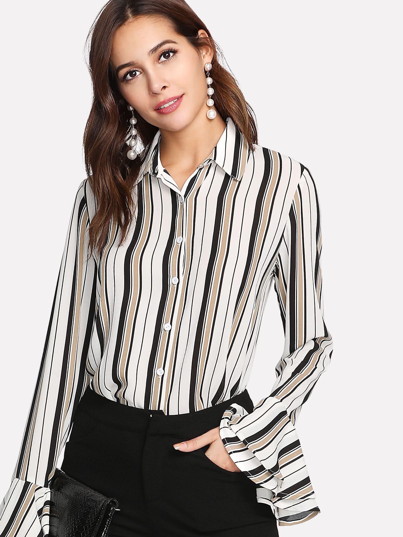 Tiered Bell Cuff Striped Shirt