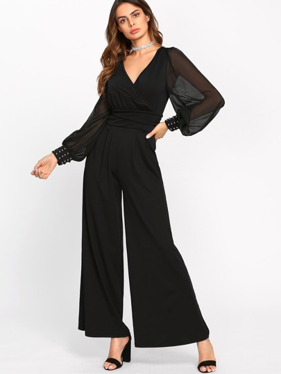 Sheer Bishop Sleeve Surplice Wrap Palazzo Jumpsuit