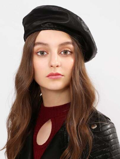 Faux Leather Beret Cap