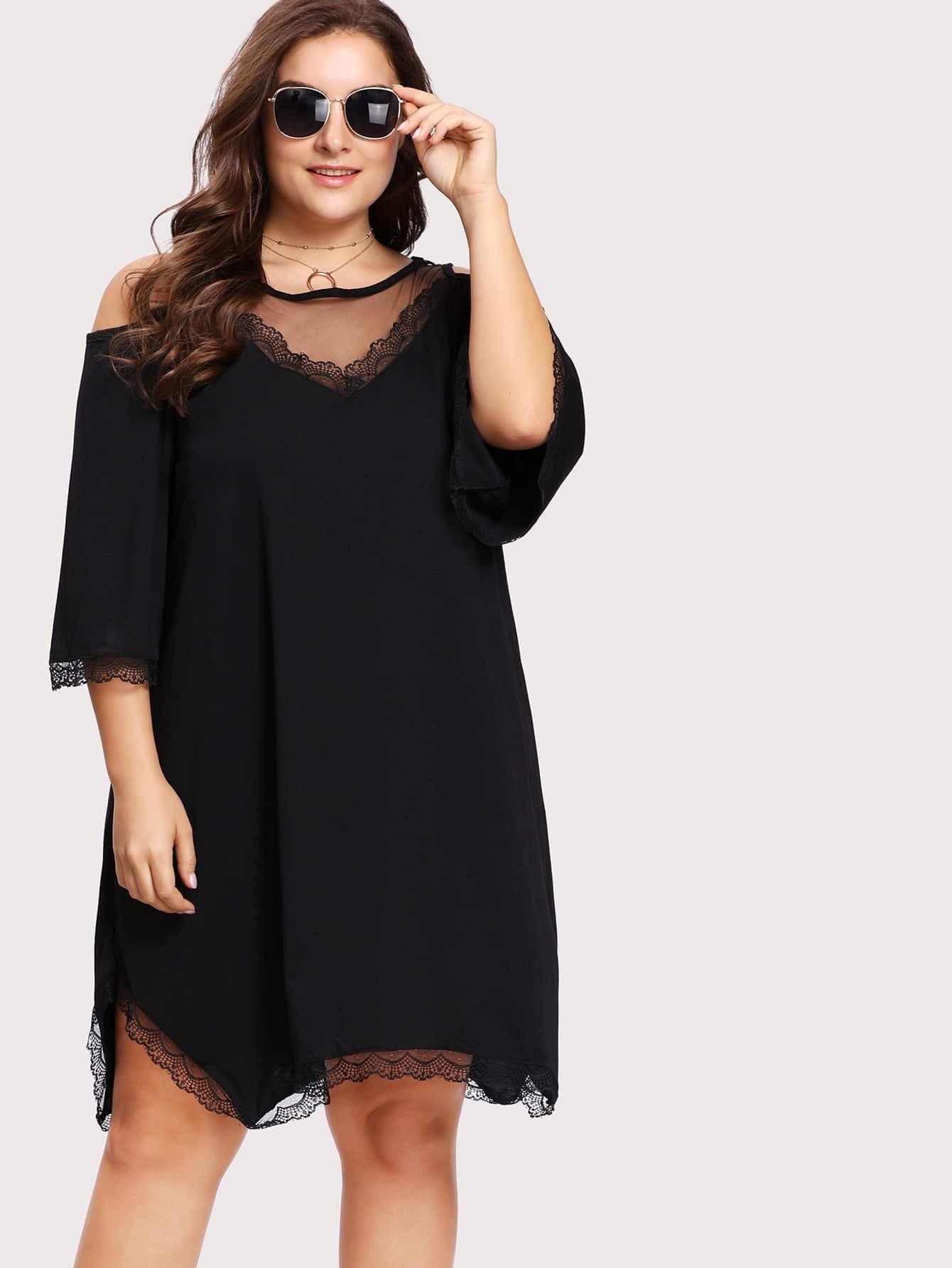 Mesh Insert Lace Trim Open Shoulder Dress open back lace insert night dress