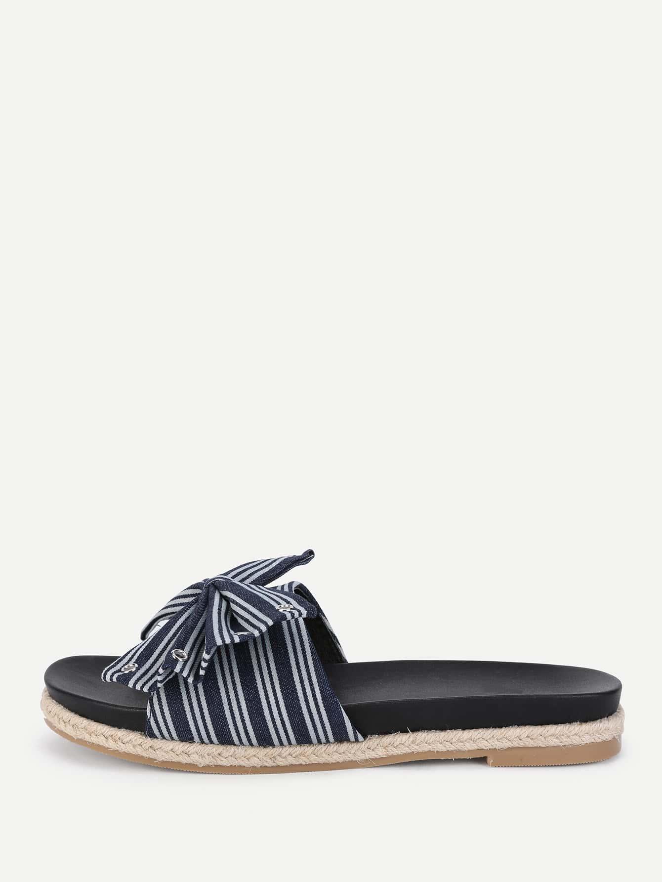Bow Design Striped Flat Sandals