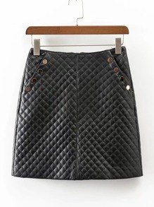 Button Detail Quilted Skirt