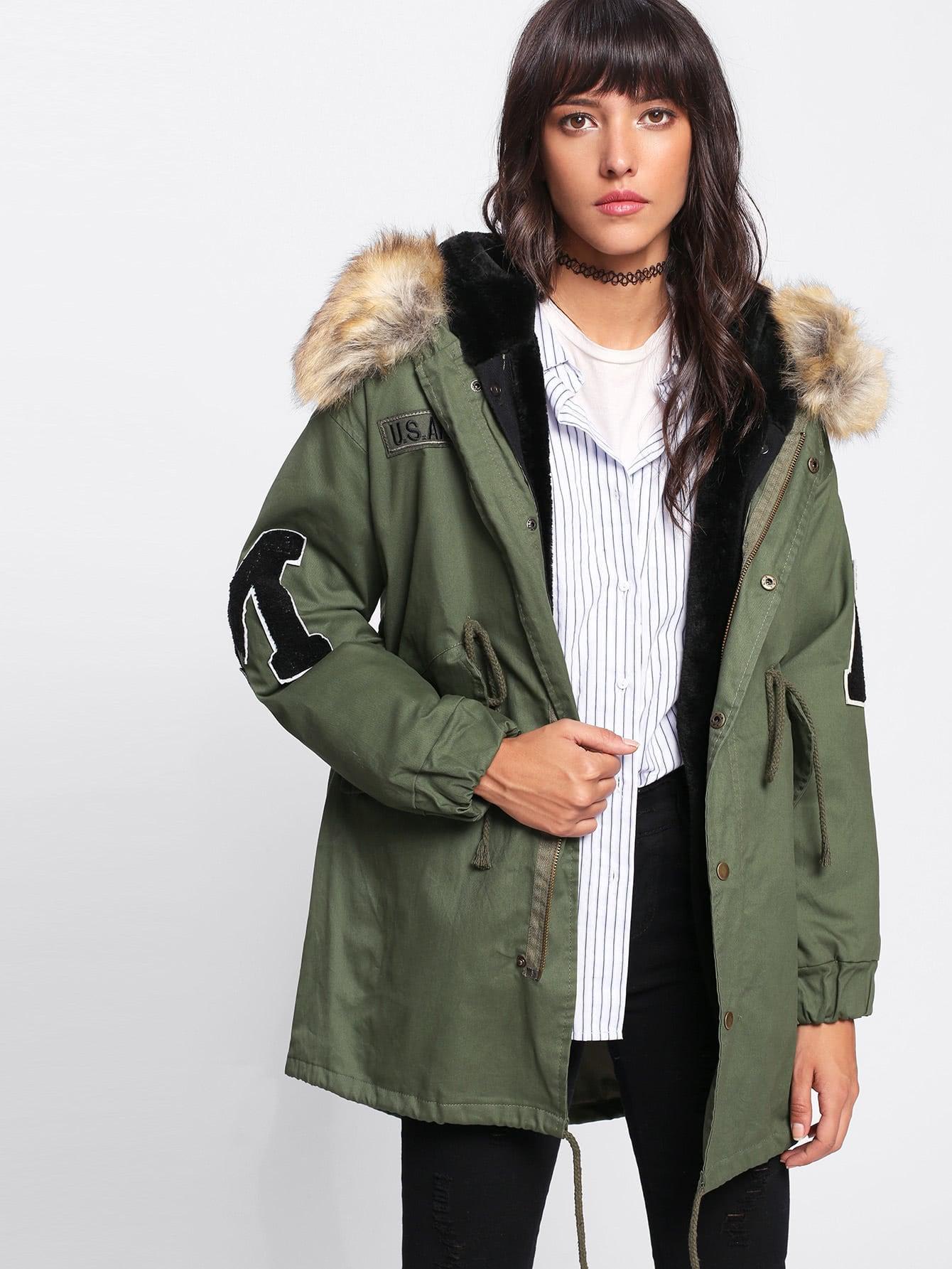 Faux Fur Lined Parka Coat -SheIn(Sheinside)