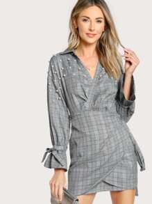 Pearl Detail Bell Cuff Plaid Wrap Dress
