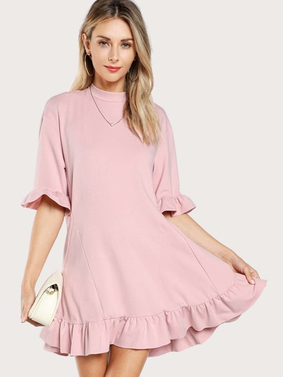 Ruffle Cuff And Hem Tee Dress