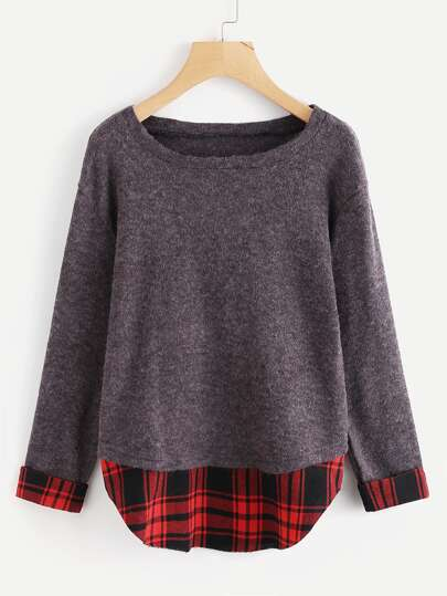 Rolled Sleeve Plaid Panel Knit Sweater