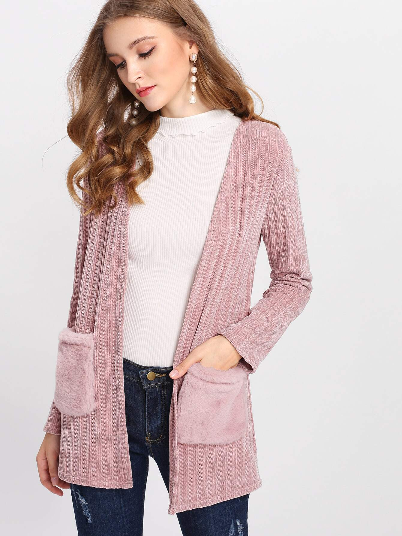 Faux Fur Pocket Patched Ribbed Coat