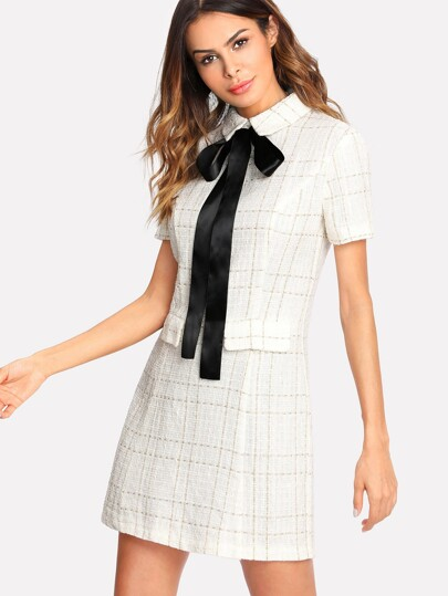 Contrast Tie Neck Faux Pocket Tweed Dress
