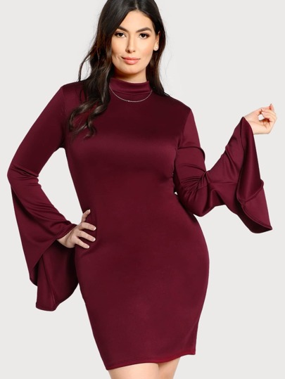 Trumpet Sleeve Buttoned Keyhole Back Dress