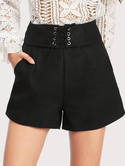 Eyelet Lace Up Zip Up Back Shorts