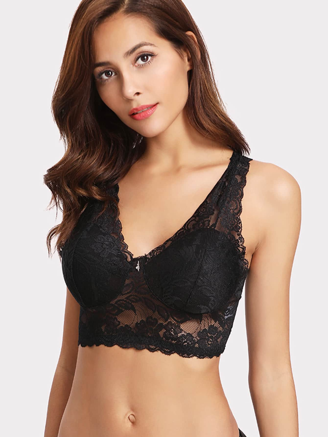 Scalloped Trim Lace Bralette