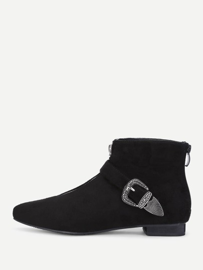 Buckle Front Suede Ankle Boots
