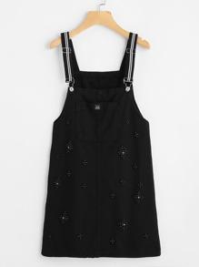 Beaded Detail Pocket Front Overall Denim Dress