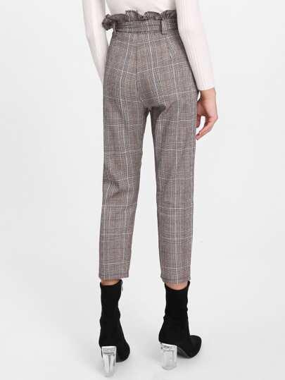 Glen Plaid Frill Waist Self Tie Capri Pants