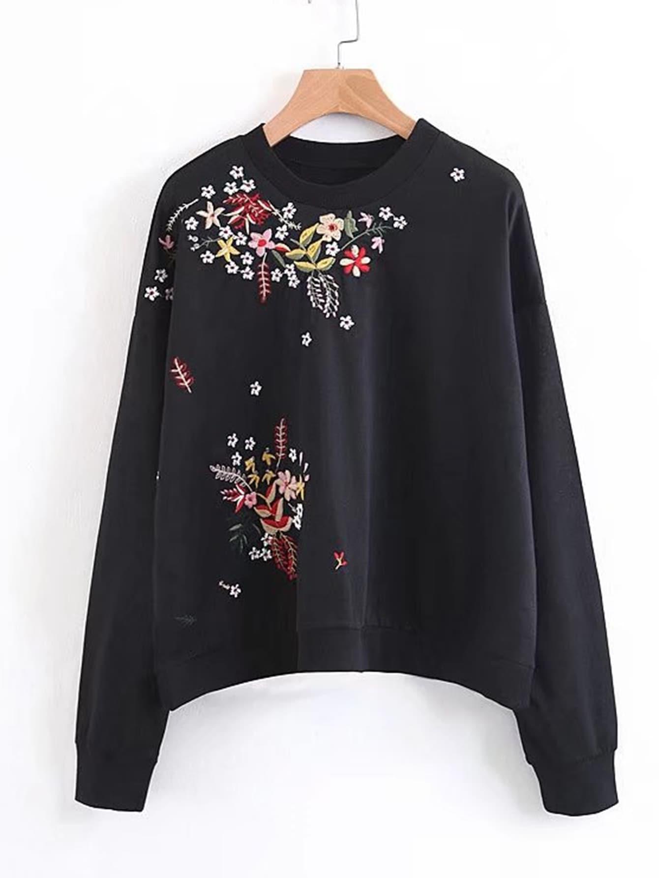 Flower Embroidery Boyfriend Sweatshirt 23150 1 907375