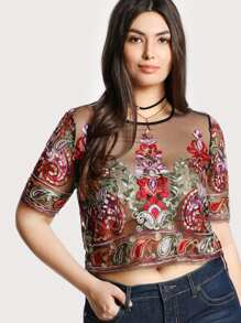 Paisley Embroidered Mesh Top