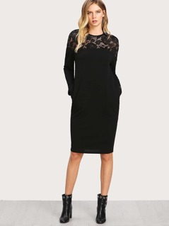 Lace Yoke Pocket Side Textured Dress