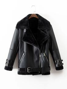 Faux Leather Faux Fur Lined Belted Jacket