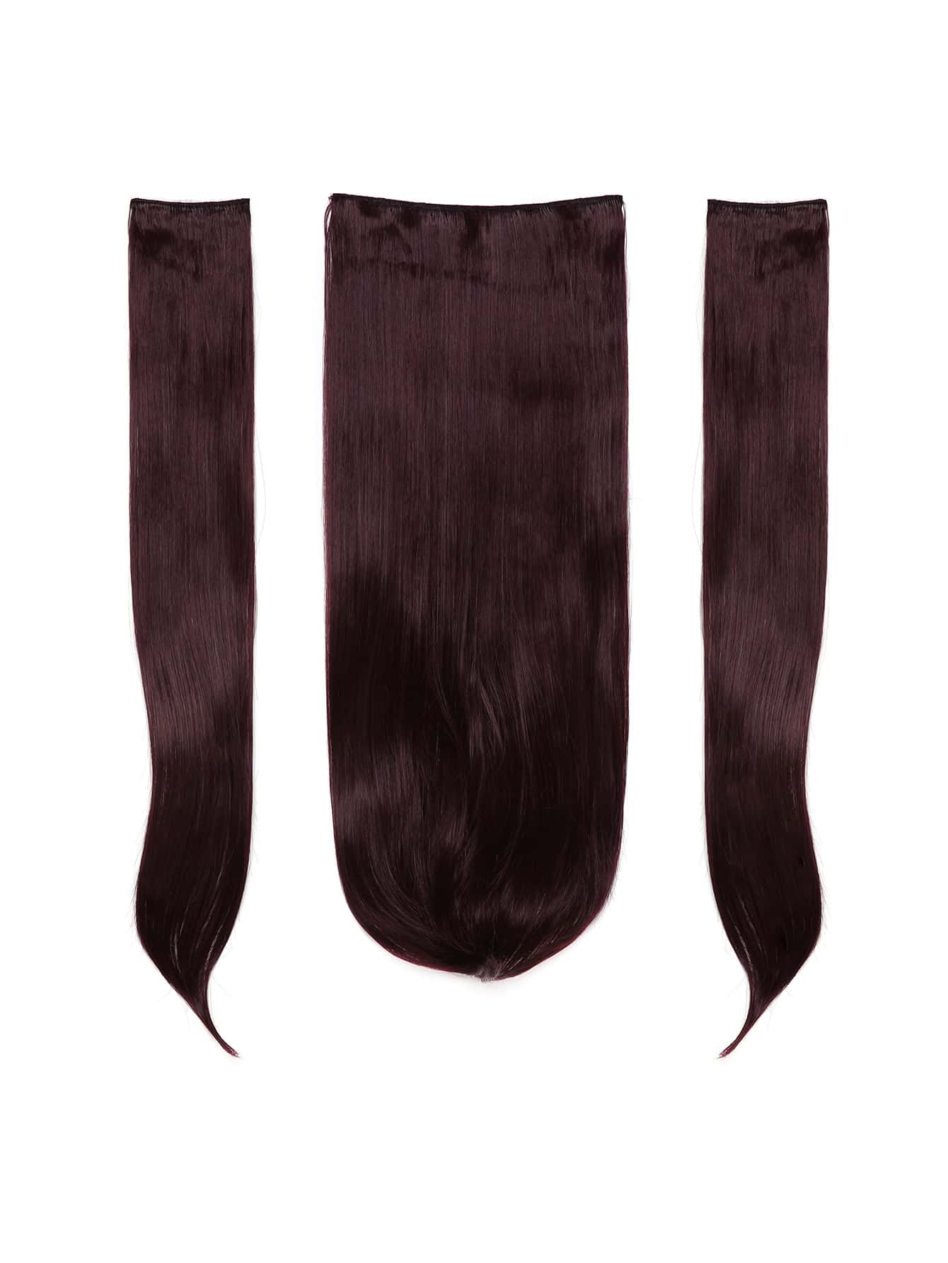 Plum Clip In Straight Hair Extension 3pcs