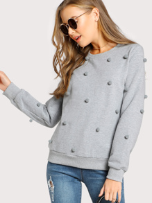 Heather Knit Pom Pom Sweatshirt