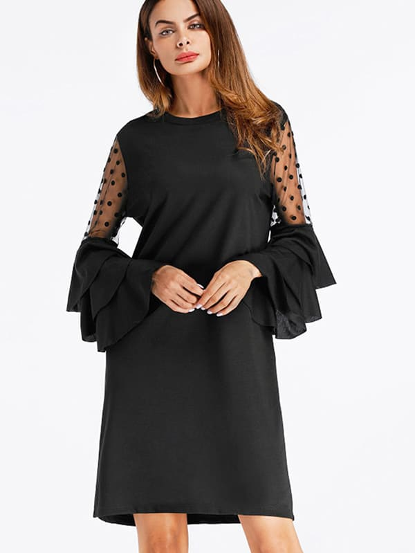 Lace Panel Tiered Fluted Sleeve Shift Dress v notch pearl leaf chain detail fluted sleeve dress