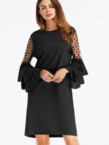 Lace Panel Tiered Fluted Sleeve Shift Dress