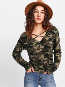 Crisscross Neck Camo T-shirt