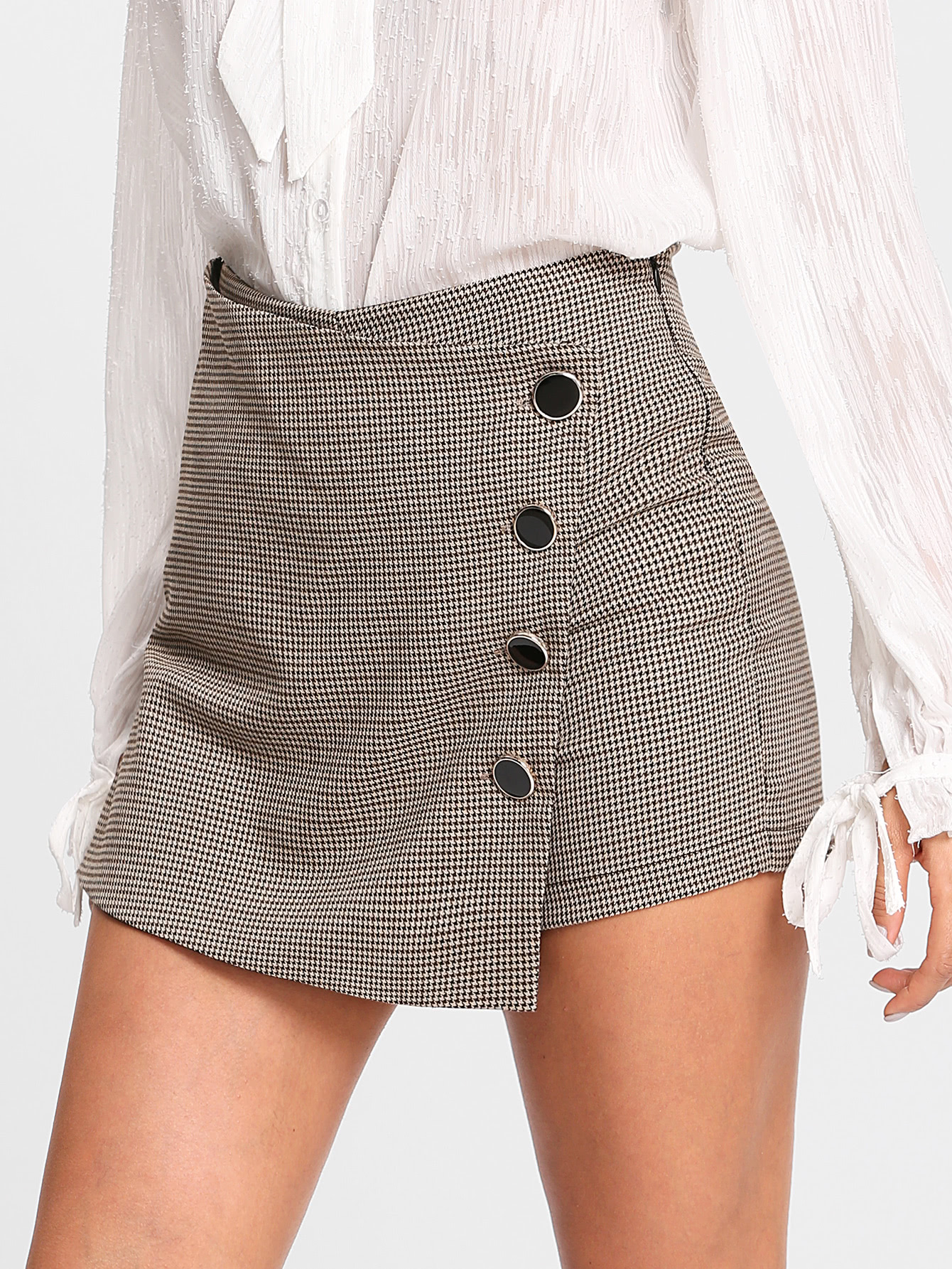 Image of Asymmetrical Wrap Houndstooth Skorts