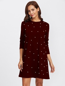 Pearl Beading Tee Dress