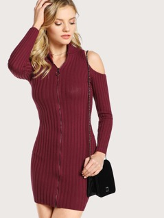 Cold SHoulder O Ring Zipper Dress BURGUNDY