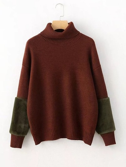 Faux Fur Panel Cuff Turtleneck Sweater