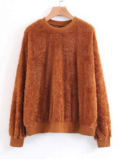 Oversized Faux Fur Sweatshirt