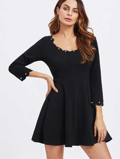 Pearl Detail Scalloped Swing Dress