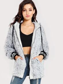 Striped Trim Faux Fur Hoodie Jacket