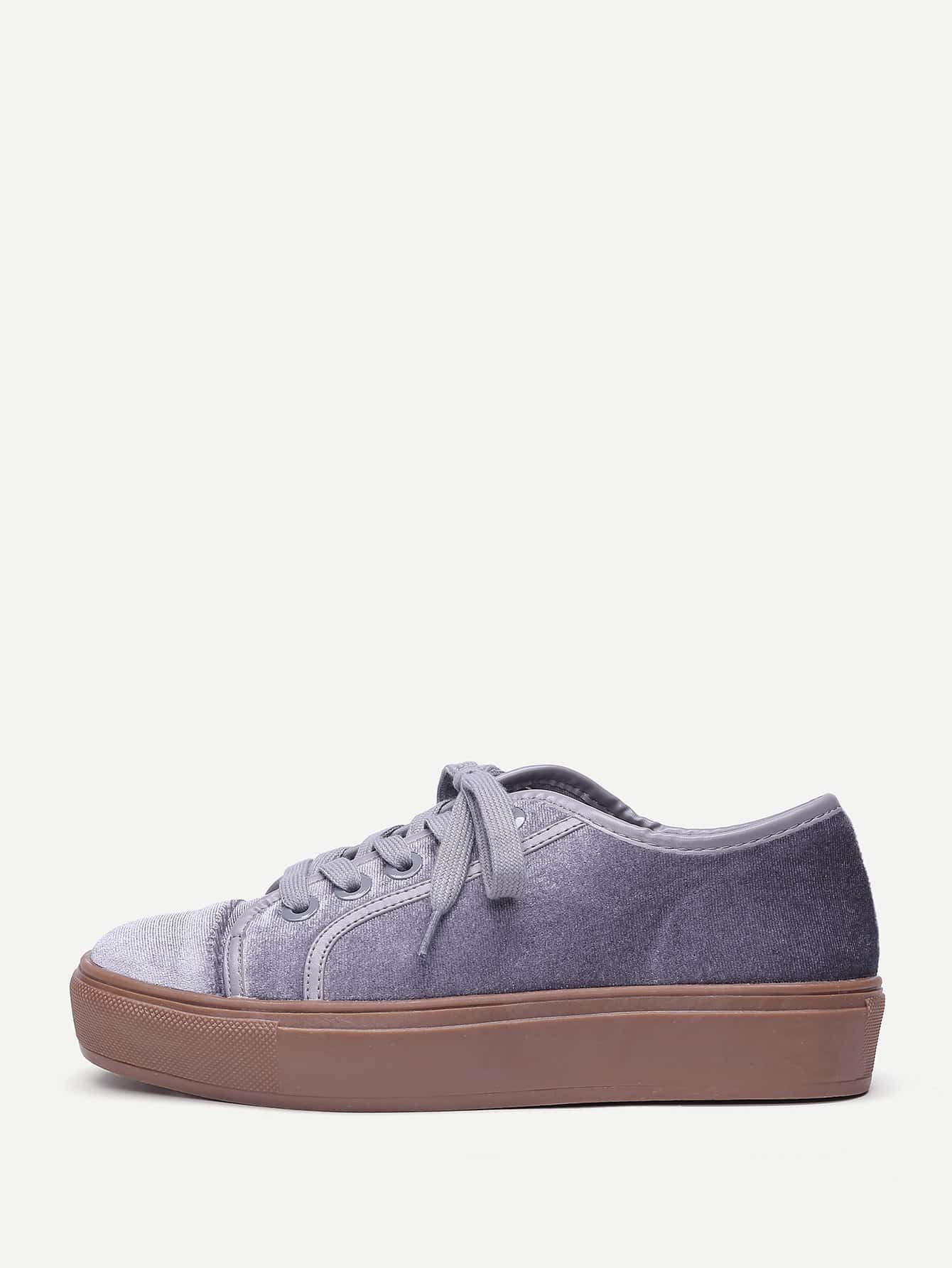 Купить Модные бархатные кроссовки на платформе со шнуровкой, null, SheIn