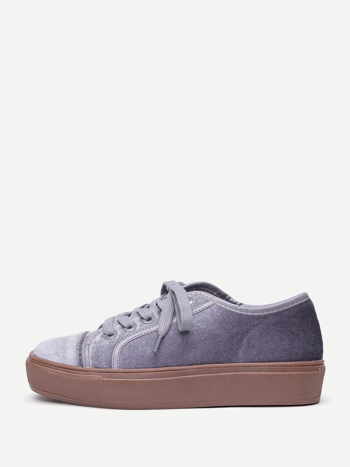 Lace Up Flatform Velvet Sneakers lace up flatform satin shoes
