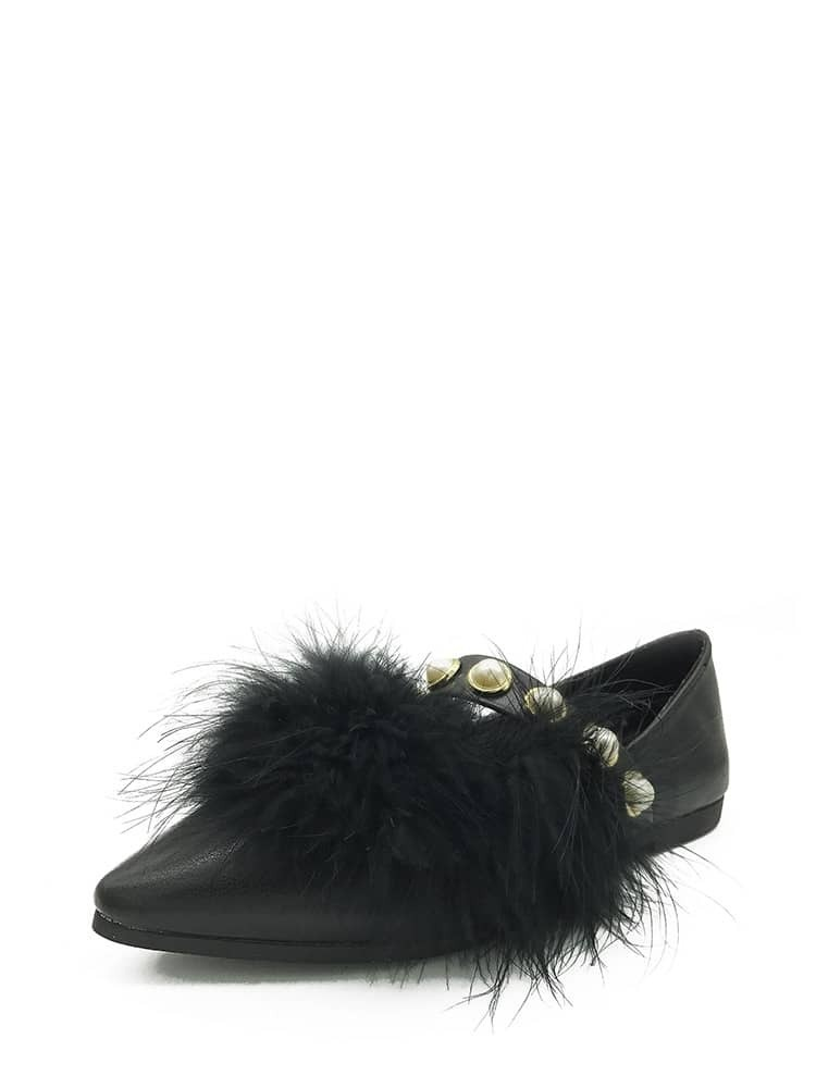 Faux Pearl Strap PU Flats With Faux Fur