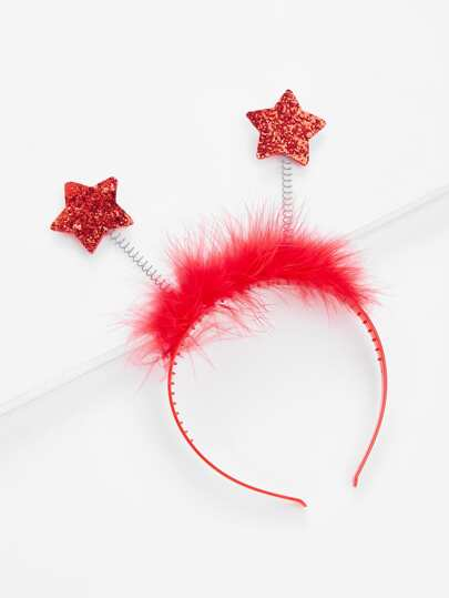 Faux Fur And Sequin Star Headband