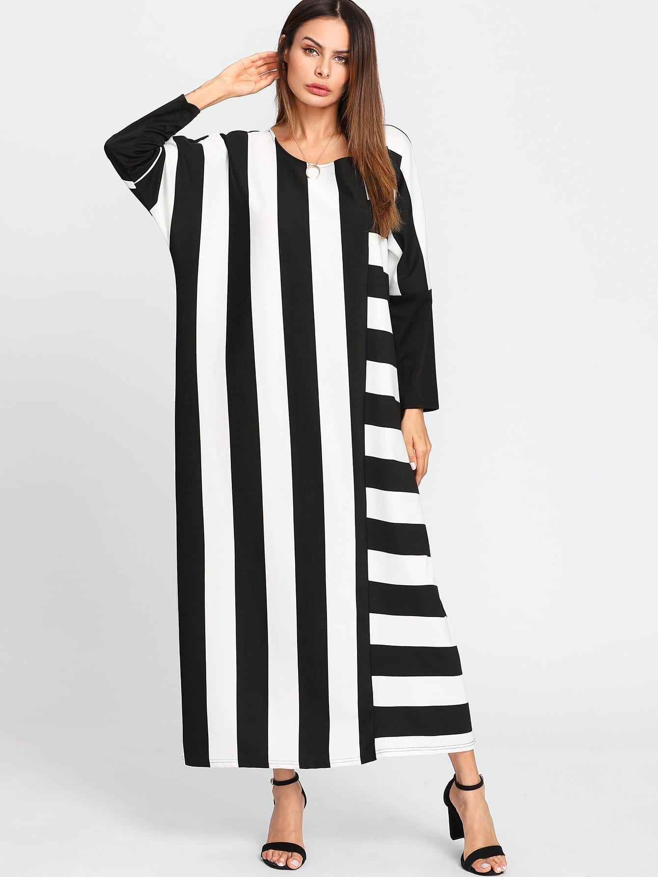 Contrast Stripe Dolman Sleeve Dress