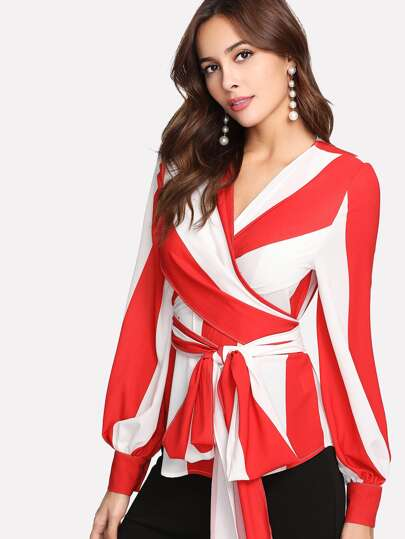 Bishop Sleeve Striped Cross Wrap Top