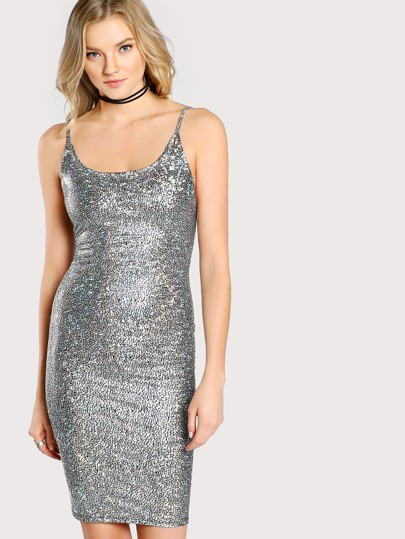 Holographic Cami Dress BLACK SILVER