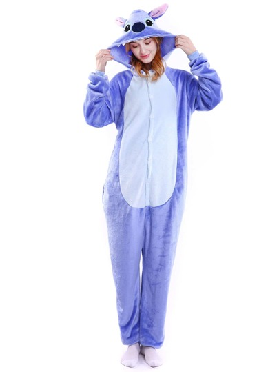 Zip Back Cartoon Plush Onesie